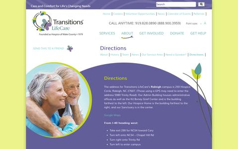 Screenshot of Maps & Directions Page transitionslifecare.org - Transitions LifeCare   –  Directions - captured Oct. 7, 2014