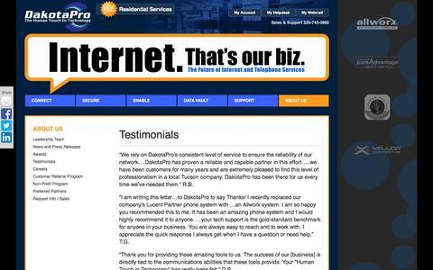 Screenshot of Testimonials Page dakotapro.biz - Testimonials | DakotaPro.biz - captured Nov. 23, 2016