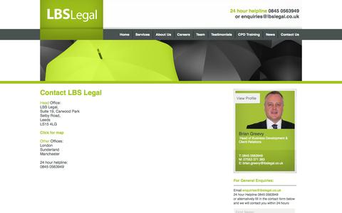 Screenshot of Contact Page lbslegal.co.uk - Contact - LBS Legal - captured Sept. 26, 2014