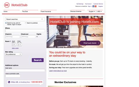 Screenshot of Home Page hotelclub.com - Find Cheap Hotels & Accommodation Deals with HotelClub.com - captured Jan. 17, 2016