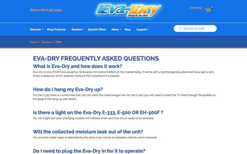 Screenshot of FAQ Page eva-dry.com - Frequently Asked Questions « Mini Dehumidifiers « Eva-Dry - captured Oct. 28, 2014