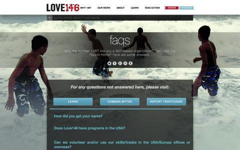 Screenshot of FAQ Page love146.org - LOVE146 | FAQs - captured Sept. 24, 2014