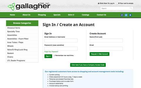 Screenshot of Login Page gallaghertire.com - Gallagher Tire, Inc. :: Log In - captured Oct. 20, 2016