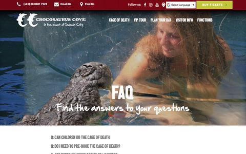 Screenshot of FAQ Page crocosauruscove.com - Croccove | FAQ - captured July 22, 2018