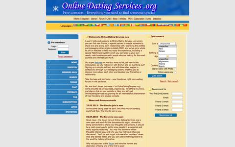 Screenshot of Home Page onlinedatingservices.org - Online Dating Services .org - Totally Free Personals and Singles with Matchmaking Features - captured Aug. 29, 2015