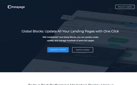 Screenshot of Landing Page instapage.com - Global Blocks - Sync Your Content Across Unlimited Pages - captured Nov. 9, 2018