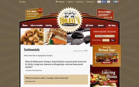 Screenshot of Testimonials Page toojays.com - Testimonials | TooJay's Gourmet Deli | Florida's Deli - captured Oct. 9, 2014