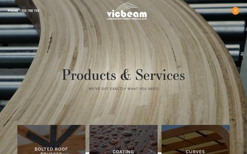 Screenshot of Products Page vicbeam.com.au - Products at Vicbeam Laminated Timber | vicbeam™ - captured Nov. 7, 2018