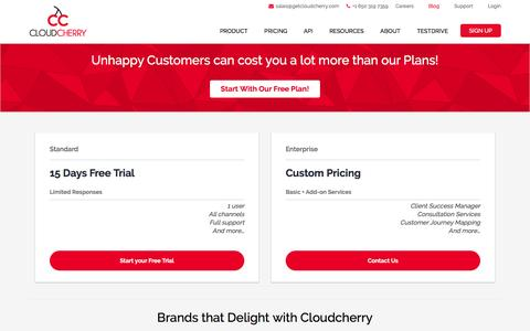 Screenshot of Pricing Page getcloudcherry.com - Feedback & Customer Experience Survey Software Pricing - captured Nov. 3, 2016