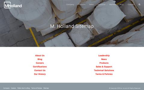 Screenshot of Site Map Page mholland.com - Plastic Resin Distributor M. Holland Company's Website Sitemap - captured Sept. 25, 2018