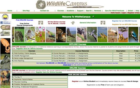 Screenshot of Home Page wildlifecampus.com - WildlifeCampus - Game Ranging, Field Guiding, Game Lodge Management,  Wildlife & Guiding Courses - captured Oct. 7, 2014
