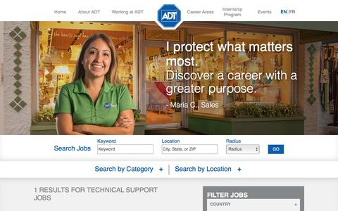 Screenshot of Trial Page adt.com - Search Technical Support Jobs at ADT - captured Nov. 14, 2016