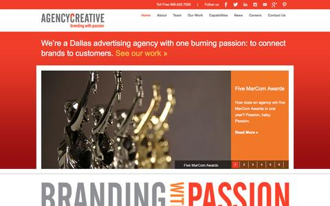 Screenshot of Home Page agencycreative.com - One of the Top Dallas Advertising Agencies | Agency Creative - captured Jan. 27, 2015