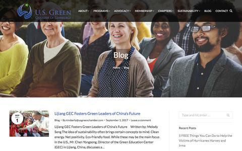 Screenshot of Blog usgreenchamber.com - Blog | U.S. Green Chamber of Commerce - captured Sept. 20, 2017