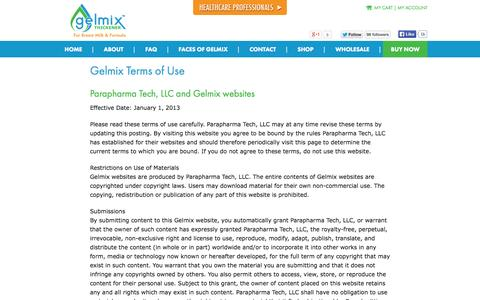 Screenshot of Terms Page gelmix.com - Terms of Use - Gelmix Formula & Breast Milk Thickener - captured Oct. 1, 2014