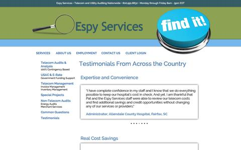 Screenshot of Testimonials Page espyservices.com - Espy Services Special Projects • Telecom and Utility Auditing • Consulting • Management • USAC • Billing Errors - captured Jan. 30, 2016