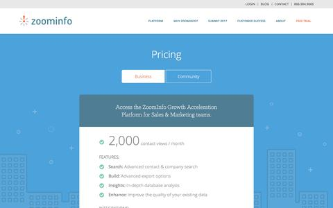 Screenshot of Pricing Page zoominfo.com - Pricing Page - captured June 29, 2017