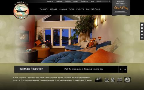 Screenshot of Home Page clearwatercasino.com - Suquamish Clearwater Casino Resort | - captured Jan. 14, 2016
