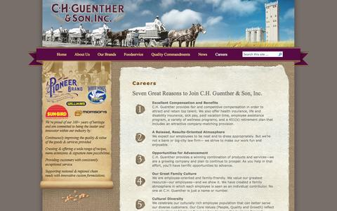 Screenshot of Jobs Page chg.com - C.H. Guenther & Son, Inc.   » Careers - captured Oct. 1, 2014