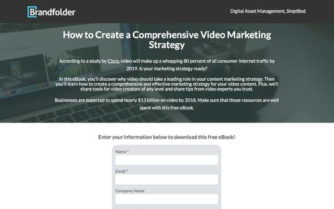 Screenshot of Landing Page brandfolder.com - How to create a comprehensive video marketing strategy. - captured Jan. 14, 2017