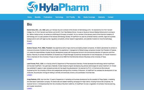 Screenshot of Team Page hylapharm.com - Bio — HylaPharm - captured May 24, 2017