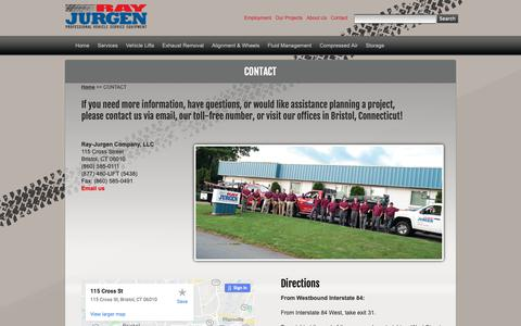 Screenshot of Contact Page rayjurgen.com - Ray-Jurgen Company –Leaders in Professional Vehicle Service Equipment - captured Oct. 20, 2018