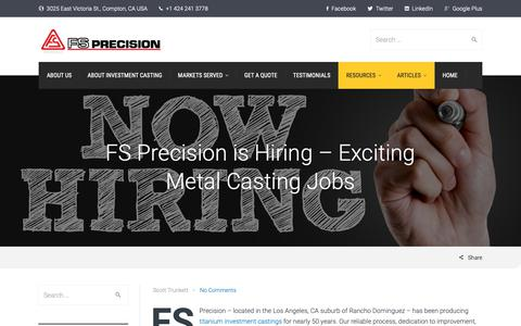 Screenshot of Jobs Page fs-precision.com - Find metal casting jobs | FS Precision - captured Nov. 14, 2018