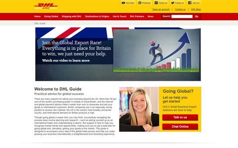 Screenshot of Home Page dhlguide.co.uk - DHL Guide - captured Sept. 19, 2014