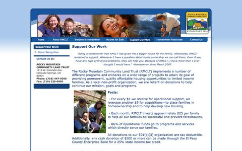 Screenshot of Support Page rmclt.org - Support Our Work - captured Oct. 7, 2014