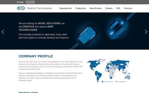 Screenshot of Home Page medictech.com - Medical Technologies CZ - captured Oct. 9, 2017