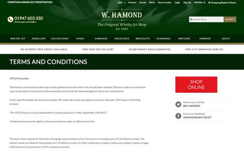 Screenshot of Terms Page whamond.com - Terms and Conditions               | W Hamond - The Original Whitby Jet Store Est.1860 - captured Oct. 18, 2017