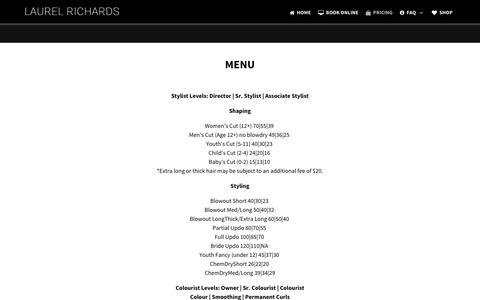Screenshot of Pricing Page laurelrichards.com - Pricing - captured Nov. 27, 2016