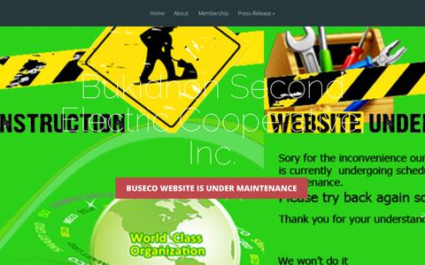 Screenshot of Home Page buseco.coop - Bukidnon Second Electric Cooperative, Inc. | Buseco website is under maintenance - captured Oct. 5, 2014