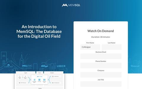 Screenshot of Landing Page memsql.com - MemSQL: The Database for Real-Time Applications - captured Sept. 20, 2018