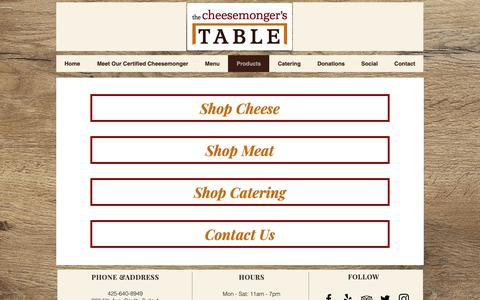 Screenshot of Products Page cheesemongerstable.com - The Cheesemonger's Table Edmonds Cheeseshop | Products - captured Oct. 20, 2018