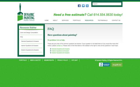 Screenshot of FAQ Page dynamicpainting.net - FAQ   Dynamic Painting - captured Nov. 3, 2014