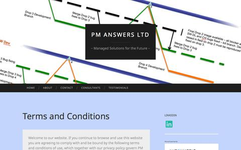 Screenshot of Terms Page wordpress.com - Terms and Conditions | PM Answers Ltd - captured Sept. 25, 2018