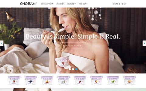 Screenshot of Home Page chobani.com - Chobani - Home - captured Dec. 18, 2015