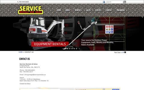 Screenshot of Contact Page servicerentals.ca - Service Rentals - CONTACT US - captured Dec. 12, 2016