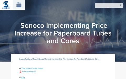 Screenshot of Press Page sonoco.com - Sonoco Implementing Price Increase for Paperboard Tubes and Cores | Sonoco - captured Nov. 5, 2019