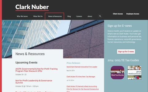 Screenshot of Press Page clarknuber.com - News & Resources - captured Sept. 29, 2014