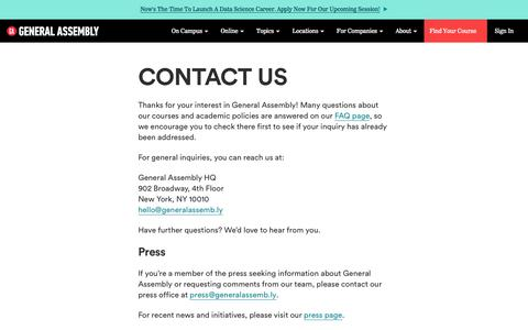 Contact Us  | General Assembly