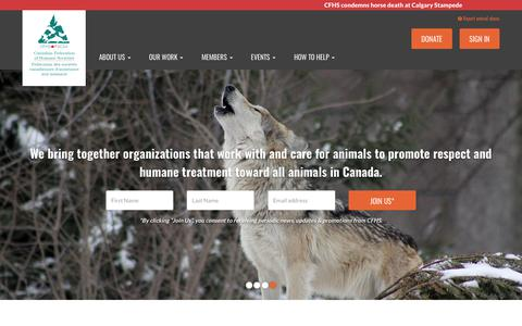 Screenshot of Home Page cfhs.ca - Canadian Federation of Humane Societies - captured July 12, 2017