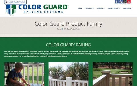 Screenshot of Products Page colorguardrailing.com - Color Guard Product Family - captured Oct. 1, 2014