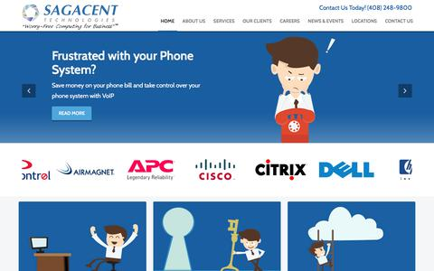 Screenshot of Home Page sagacent.com - The IT Support & Managed IT Services Experts | Sagacent Technologies | San Jose, CA - captured Oct. 4, 2017
