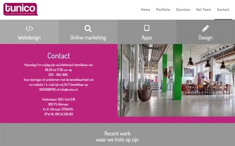 Screenshot of Contact Page tunico.nl - Full-service internetbureau | Contact - captured Oct. 20, 2018