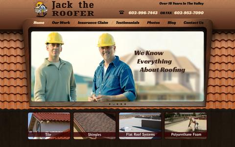 Screenshot of Home Page jacktherooferaz.com - Jack The Roofer | Phoenix, Scottsdale and West Sun City Roofing Repair and Roof Building - captured Oct. 6, 2014