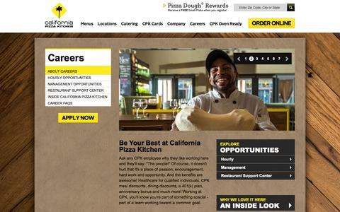 Screenshot of Jobs Page cpk.com - California Pizza Kitchen - Careers - captured Sept. 23, 2014