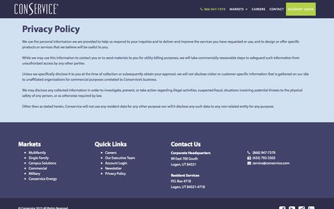 Screenshot of Privacy Page conservice.com - Conservice - The Utility Experts - captured Nov. 14, 2015