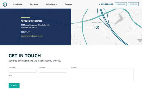 Screenshot of Contact Page sebonic.com - Contact   Sebonic Financial - captured Jan. 20, 2020